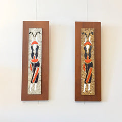 Maurice Chalvignac Styled Pair Of Mid-Century Teak And Tile Wall Art