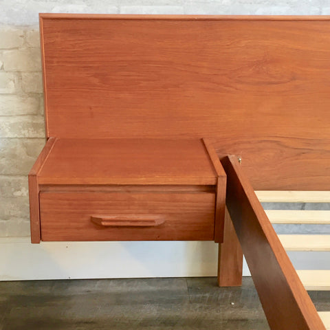 Pair Of Mid-Century Teak Twin Bed Frames With Floating Side Table