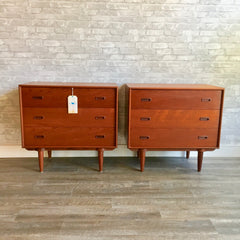 Pair of Mid-Century Modern Teak 3 Drawer Dressers or Side Tables