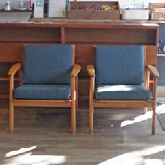 Pair of Mid Century Beechwood Lounge Chairs - Vintage Home Boutique - 1