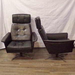 Pair of Eames styled Black Leather Swivel Lounge Chairs - Vintage Home Boutique - 4
