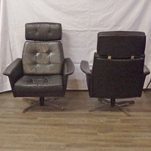 Pair of Eames styled Black Leather Swivel Lounge Chairs - Vintage Home Boutique - 5