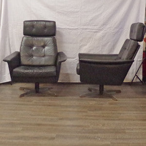 Pair of Eames styled Black Leather Swivel Lounge Chairs - Vintage Home Boutique - 6