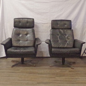 Pair of Eames styled Black Leather Swivel Lounge Chairs - Vintage Home Boutique - 3