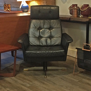 Pair of Eames styled Black Leather Swivel Lounge Chairs - Vintage Home Boutique - 2