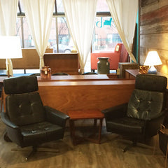 Pair of Eames styled Black Leather Swivel Lounge Chairs - Vintage Home Boutique - 1