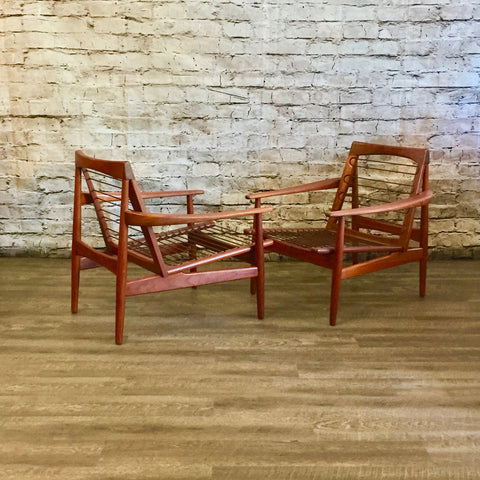 Pair of Mid Century Teak Lounge Chairs by Grete Jalk