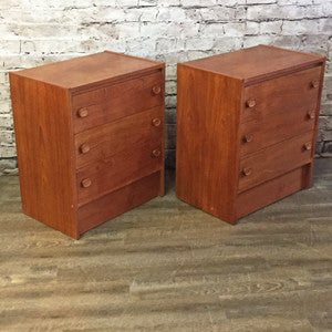 Pair of Small Mid Century Teak 3 Drawer Dressers or Side Tables
