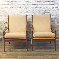 Mid-Century R Huber African Teak High Back Lounge Chairs