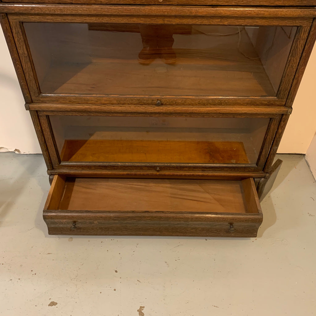 Rare Antique Corner Barristers Bookcases In Tiger Oak