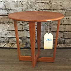 Mid-Century Teak Round Sunburst  Side Table