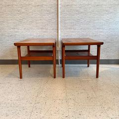Sculptural Mid-Century Teak Side Tables With Shelf