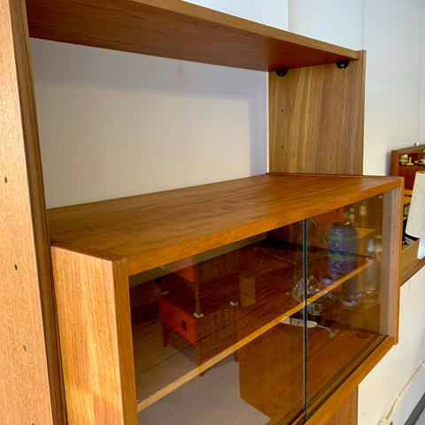 Single Section German Mid-Century Teak Free Standing Wall Unit