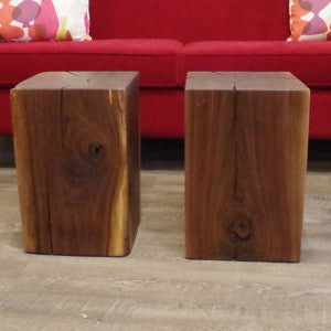 Live Edge Walnut Cube Side Table - Vintage Home Boutique - 2