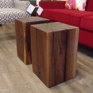 Live Edge Walnut Cube Side Table - Vintage Home Boutique - 3