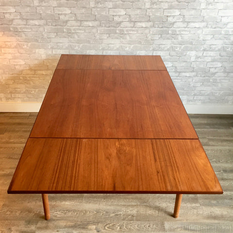 Square Mid-Century Teak Extending Dining Table