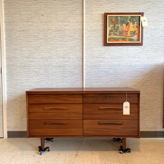 Stunning Mid-Century Solid African Teak 6 Drawer Dresser By Imperial