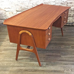 Mid-Century Teak and Cane Executive Desk by Svend Aage Madsen
