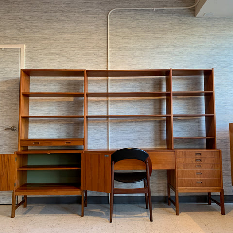 Swedish Modern Teak Free Standing Wall Unit By Skaraborgs
