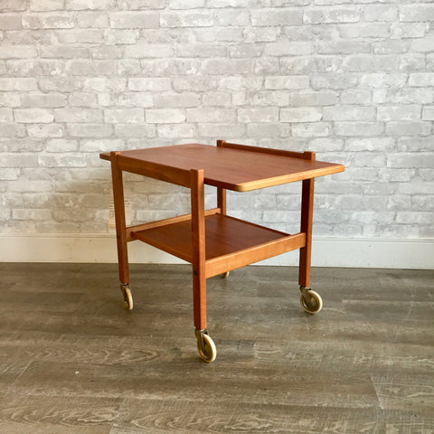 Swedish Modern Teak Rolling Bar Cart or Table