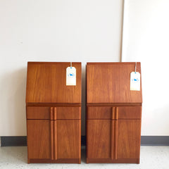 Tall Danish Modern Teak Night Stands or Side Tables