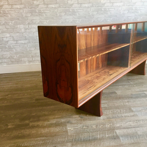 Tall Danish Mid-Century Rosewood TV Stand With Finished Back