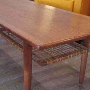 Mid Century Teak Coffee Table with Cane Shelf by Trioh