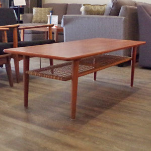 Mid Century Teak Coffee Table with Cane Shelf by Trioh - Vintage Home Boutique - 1
