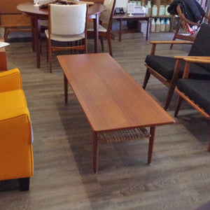 Mid Century Teak Coffee Table with Cane Shelf by Trioh - Vintage Home Boutique - 2