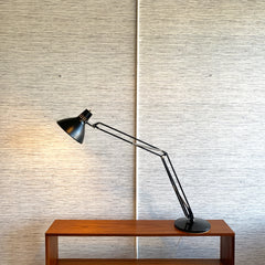 Vintage Large Adjustable Balance Arm Lamp On Circular Counterbalance Base