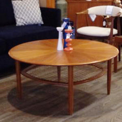 Mid Century Modern Coffee Table with Cane Shelf - Vintage Home Boutique - 1