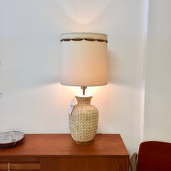 Large Mid-Century Modern Ceramic And Teak Table Lamp