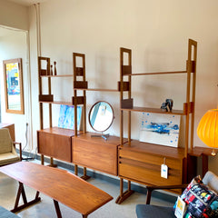 Free Standing 3 Section Mid-Century Teak Wall Unit