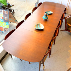 Mid-Century Teak And Walnut Extending Dining Table By Baker Furniture