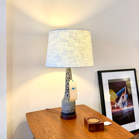 Mid Century Stoneware And Teak Table Lamps