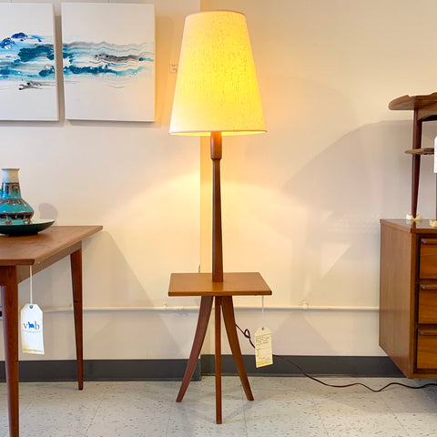 Mid-Century Teak Table And Floor Lamp With Original Shade