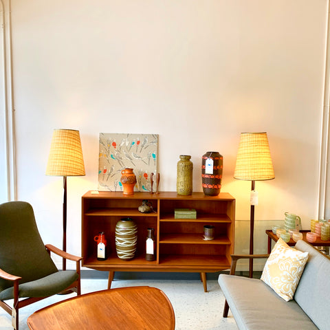 Pair Of Solid Teak Mid-Century Floor Lamps With Original Cone Shades