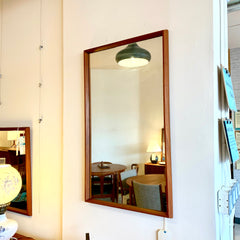 Pair Of Mid-Century Teak Wall Mirrors With Beveled Edge