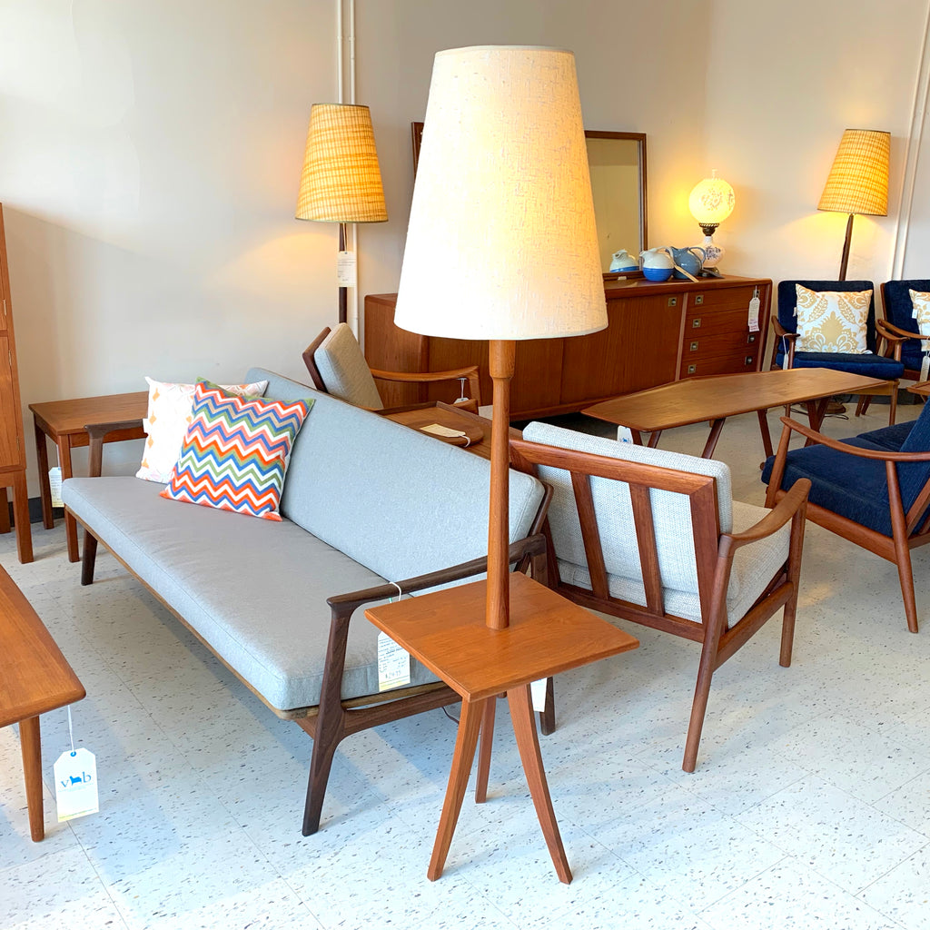 Mid Century Teak Table And Floor Lamp With Original Shade