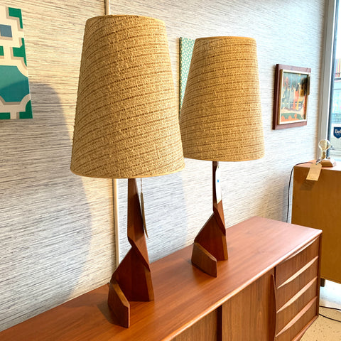 Mid-Century Modern Teak Zig Zag Table Lamps With Original Cone Shades