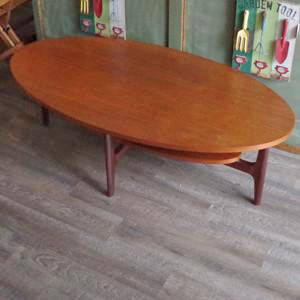 Mid Century Oval Teak Coffee Table with Shelf - Vintage Home Boutique - 2