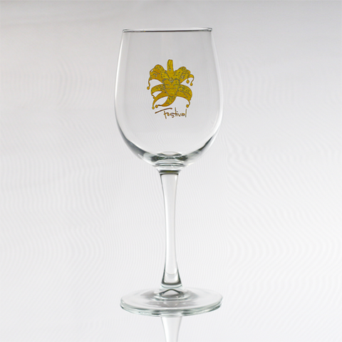 Wine Glass with Gold Festival Mask