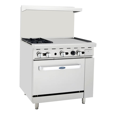 "Atosa Commercial 36"" Natural Gas Range 2 Burners & 24"" Griddle & Oven ATO2B24GNG"