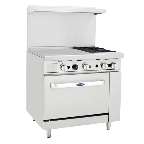 "Atosa Commercial 36"" Propane Gas Range W/2 Burners 24"" Griddle & Oven ATO24G2BLP"