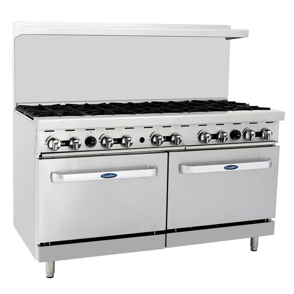 "Atosa Commercial 60"" Natural Gas Range W/ 10 Hot Plates & Two 26"" Oven ATO10BNG"