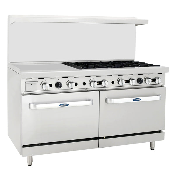 "Atosa Commercial 60"" Propane Gas Range 24"" Griddle 6 Burners 2 Ovens ATO6B24GLP"