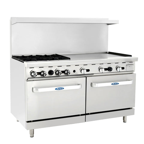 "Atosa Commercial 60"" Natural Gas Range 4 Burners 36"" Griddle 2 Ovens ATO6B24GNG"
