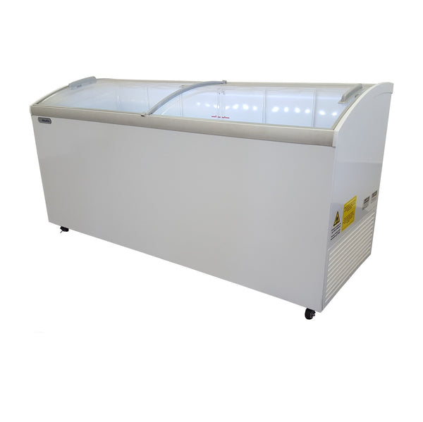 "Metalfrio 70"" Commercial Curved Top Glass Novelty  Ice Cream Freezer Chest MSC70"