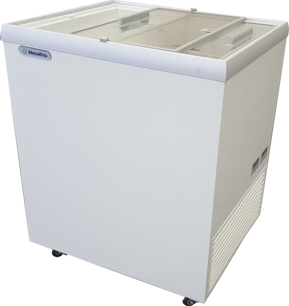 "Metalfrio 30"" Commercial Flat Top Glass Novelty Ice Cream Freezer Chest MSF30"