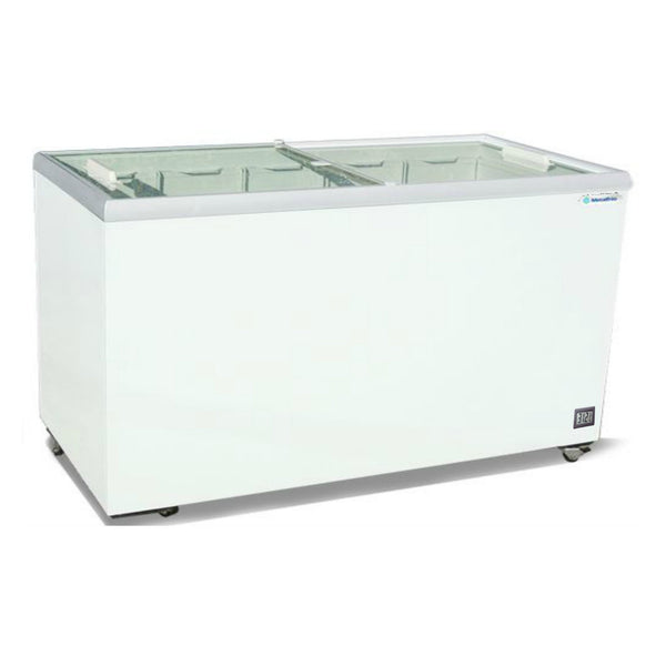 "Metalfrio 52"" Commercial Flat Top Glass Novelty Ice Cream Freezer Chest MSF52"